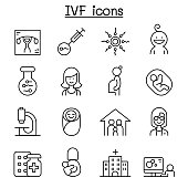 IVF, In Vitro Fertilization icon set in thin line style