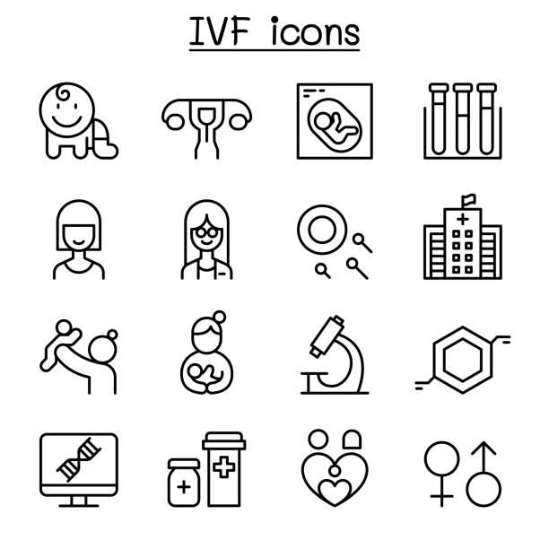 ilustraciones, imágenes clip art, dibujos animados e iconos de stock de fecundación in vitro, icono de la fertilización in vitro en estilo de línea fina - pediatra