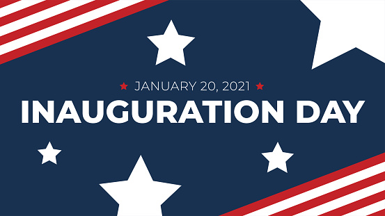 Inauguration Day - January 20, 2021 Text for 46th Elected President Joe Biden with Patriotic Stars and Stripes Design Background Vector Illustration