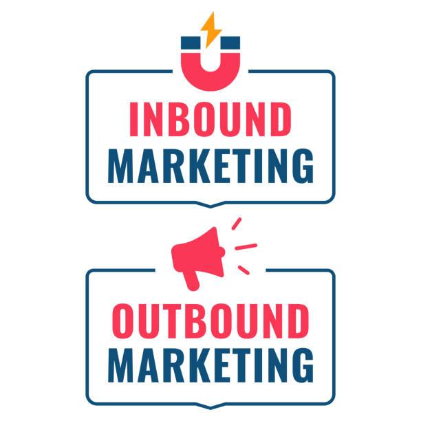 ilustrações de stock, clip art, desenhos animados e ícones de inbound and outbound marketing. flat vector illustration on white background. - inbound marketing