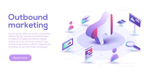 ilustrações de stock, clip art, desenhos animados e ícones de inbound and outbound marketing vector business illustration in isometric design. online and offline or interruption and permission marketing background. - inbound marketing