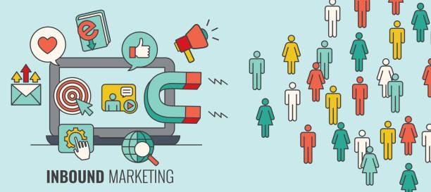 ilustrações de stock, clip art, desenhos animados e ícones de inbound header with magnet attracting new leads and generating income with the inbound marketing - inbound marketing