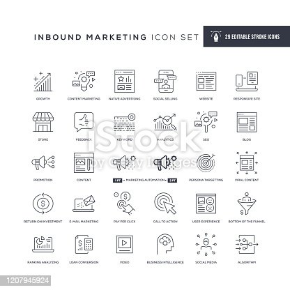 29 Inbound Marketing Icons - Editable Stroke - Easy to edit and customize - You can easily customize the stroke with