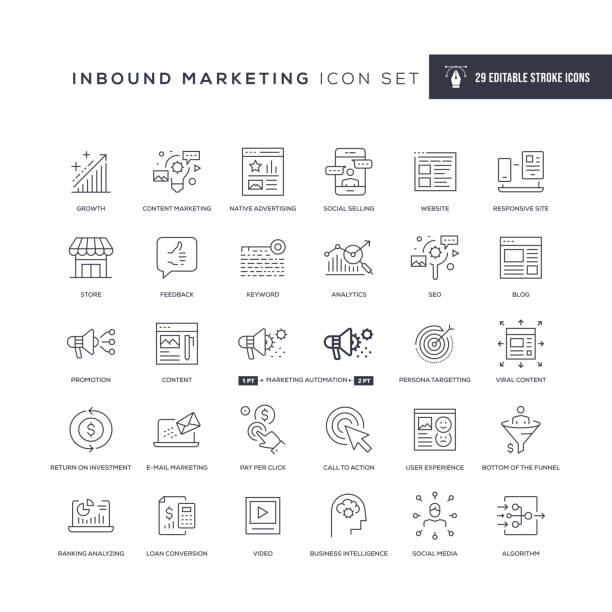 ilustrações de stock, clip art, desenhos animados e ícones de inbound marketing editable stroke line icons - inbound marketing