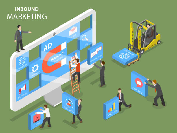 ilustrações de stock, clip art, desenhos animados e ícones de inbound marketing flat isometric vector concept. - inbound marketing