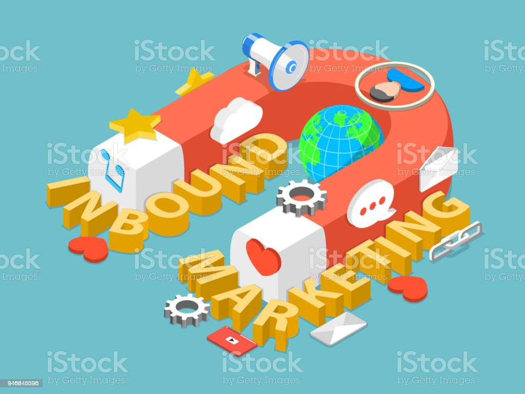 Inbound marketing flat isometric vector concept. vector art illustration