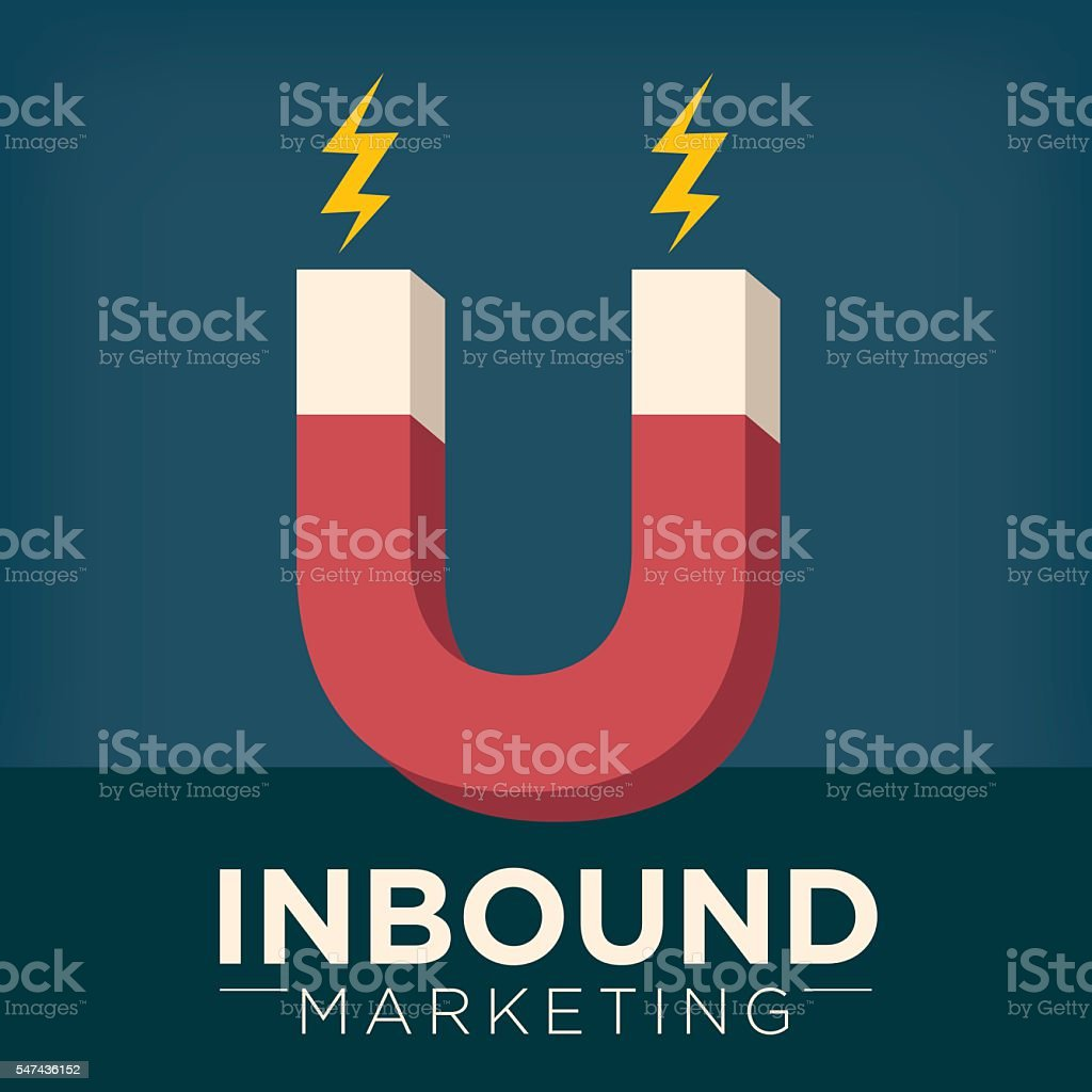 Inbound Marketing Graphic with Magnet vector art illustration