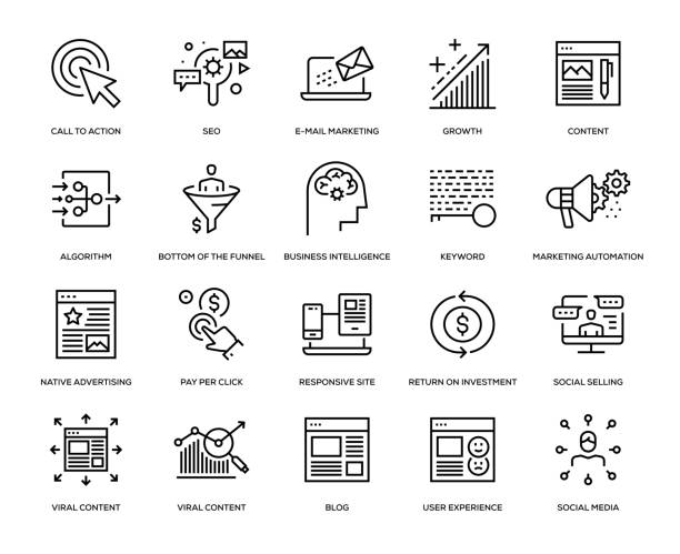 ilustrações de stock, clip art, desenhos animados e ícones de inbound marketing icon set - inbound marketing