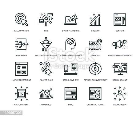 Inbound Marketing, Digital Marketing, SEO, Marketing Icons - Line Series
