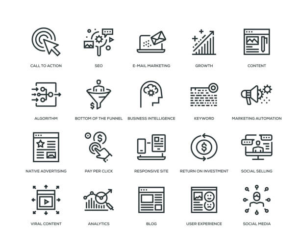 ilustrações de stock, clip art, desenhos animados e ícones de inbound marketing icons - line series - inbound marketing