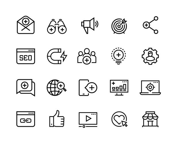 ilustrações de stock, clip art, desenhos animados e ícones de inbound marketing line icons. lead social media, action marketing influence and target audience attraction. marketing vector symbols - inbound marketing
