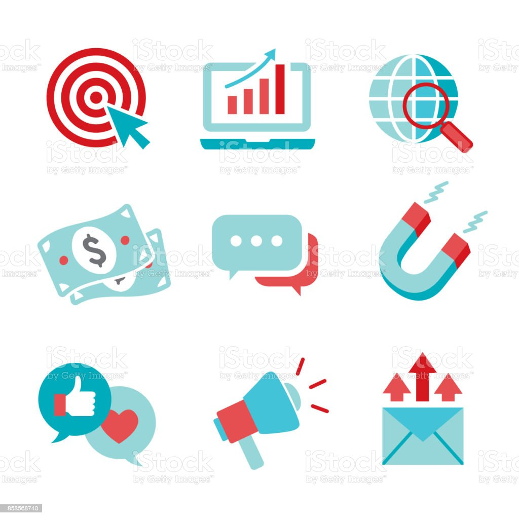 inbound marketing vector icons with cta growth seo etc