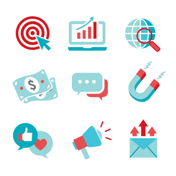 ilustrações de stock, clip art, desenhos animados e ícones de inbound marketing vector icons with cta, growth, seo, etc - inbound marketing