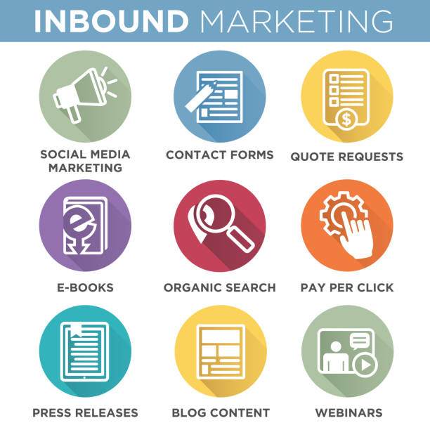 ilustrações de stock, clip art, desenhos animados e ícones de inbound marketing vector icons with organic search, ppc, blog content, press release, social media marketing, contact form, ebook, video, webinar, and quote request - inbound marketing