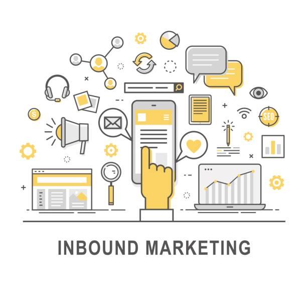 ilustrações de stock, clip art, desenhos animados e ícones de inbound marketing vector - inbound marketing