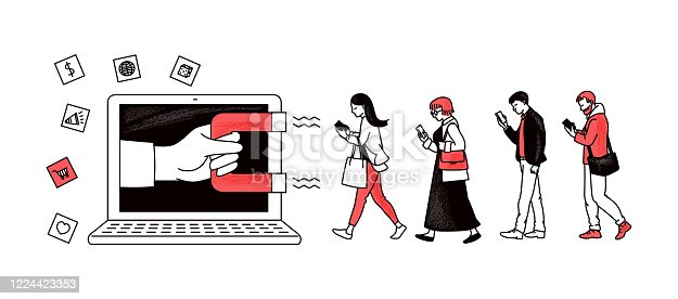 istock Inbound marketing with magnet attracting people sketch vector illustration. 1224423353