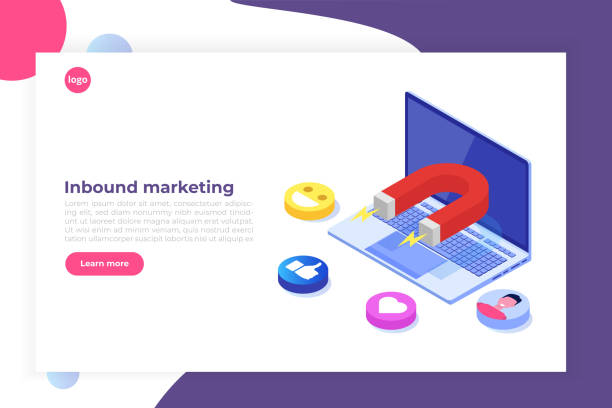 ilustrações de stock, clip art, desenhos animados e ícones de inbound, online or permission marketing, sales generation. flat isometric vector illustration. - inbound marketing