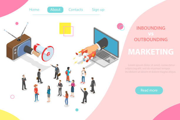 ilustrações de stock, clip art, desenhos animados e ícones de inbound vs outbound marketing isometric vector concept - inbound marketing