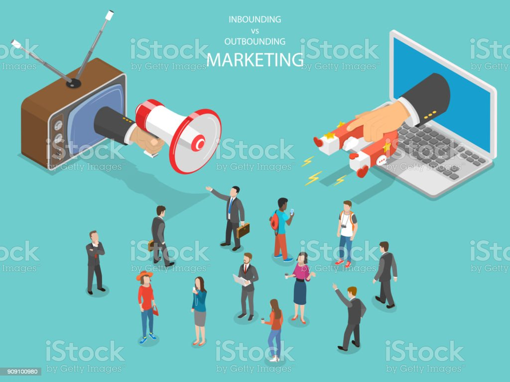 Inbound vs outbound marketing isometric vector. vector art illustration
