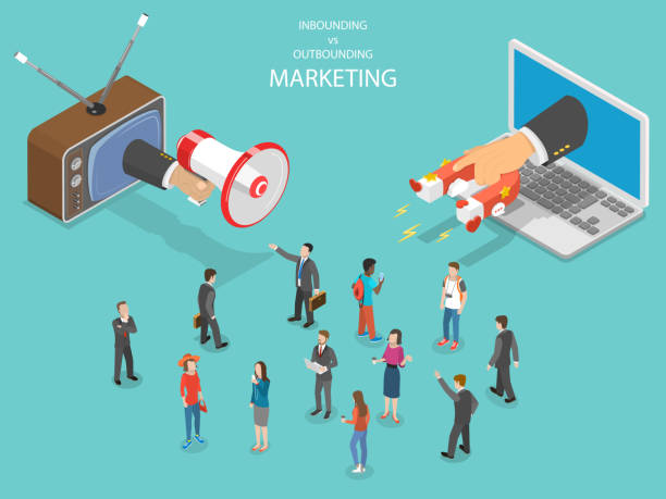 ilustrações de stock, clip art, desenhos animados e ícones de inbound vs outbound marketing isometric vector. - inbound marketing