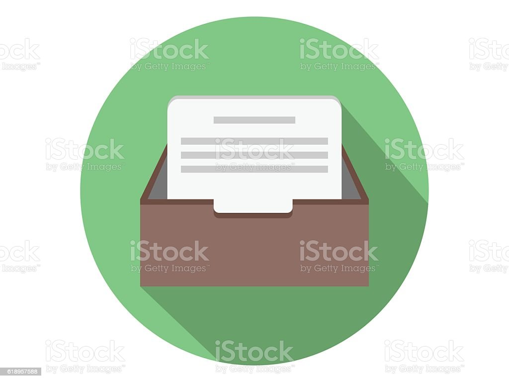 In-box icon with text file vector art illustration
