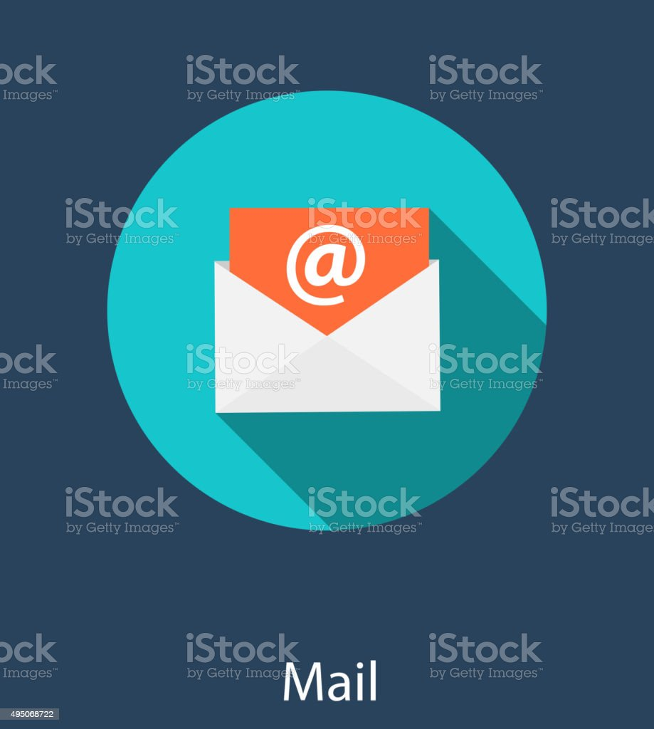 Inbox Mail Flat Concept Vector Illustration vector art illustration