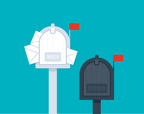 Inbox Outbox Mailboxes Inbox outbox mailboxes flat design. EPS 10 file. Transparency effects used on highlight elements. full stock illustrations