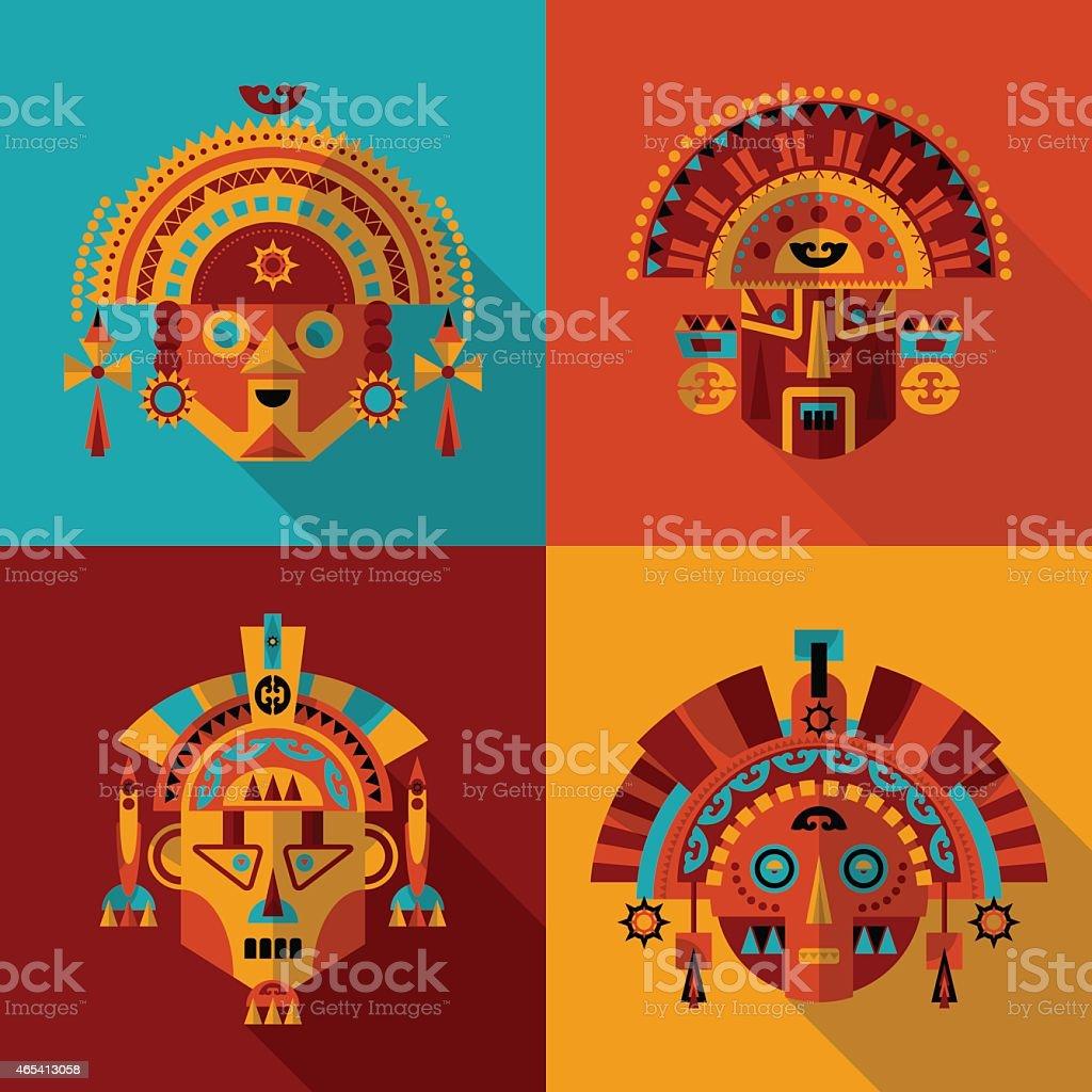 haut fonctionnaire homme se connecter Inca Masques Vecteurs libres de droits et plus d'images ...