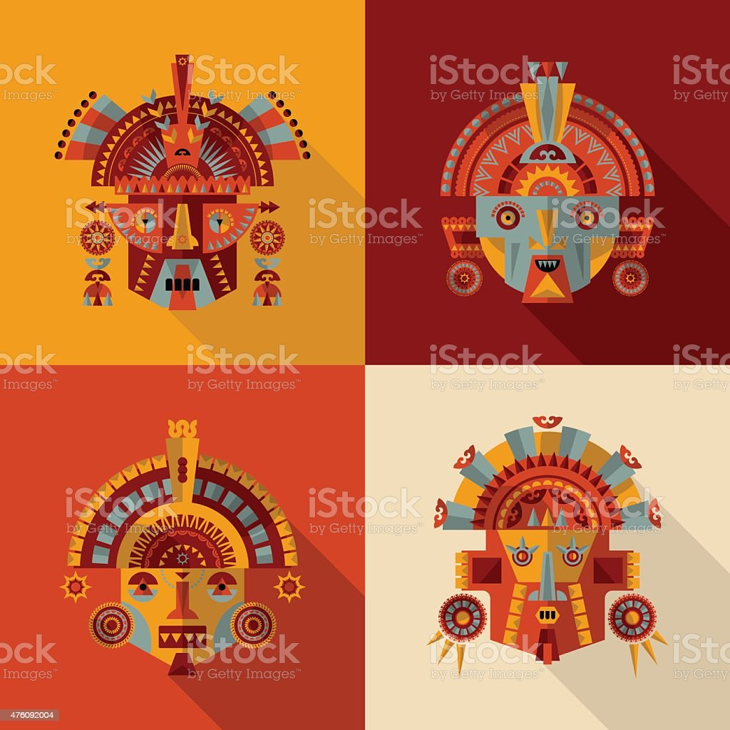 Inca masks. vector art illustration