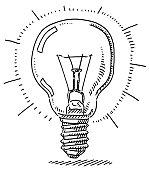 Incandescent Light Bulb Symbol Drawing