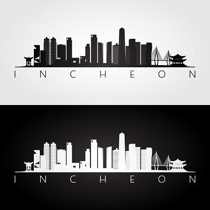Incheon skyline and landmarks silhouette, black and white design, vector illustration.