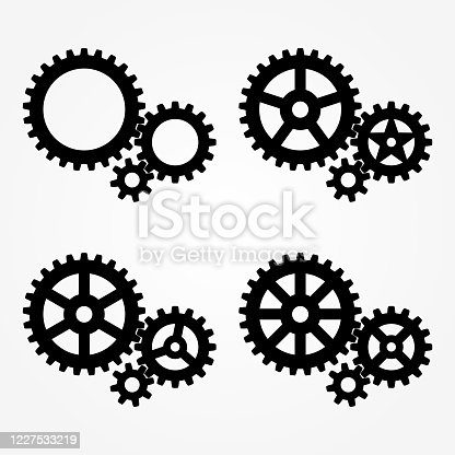 Mechanical sprocket gears sets, small, medium and large, 4 types, black silhouette. Isolated Vector illustration.