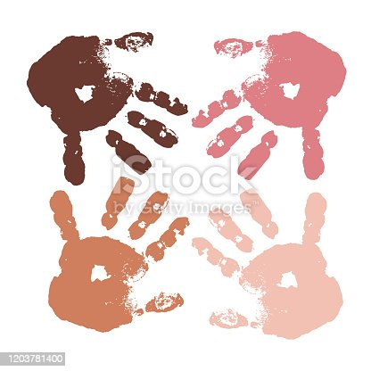 Inclusion concept. Hands of different skin colors. Union Teamwork Inclusiveness. Imprint baby palm. Stock vector illustration. Isolated object on the white background. Equality of people. Diversity.