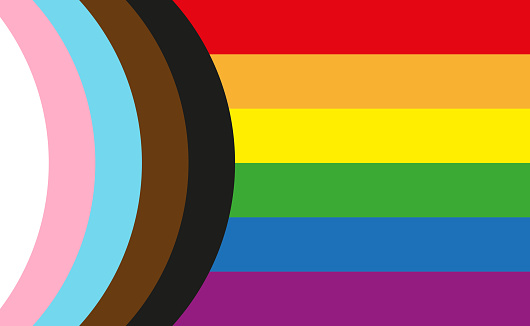 Inclusive LGBTQI+ Pride Flag including people of colour and the trans community