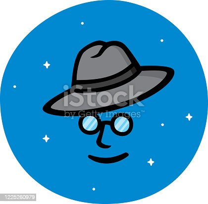 Vector illustration of a hand drawn face with glasses and hat against a blue background.