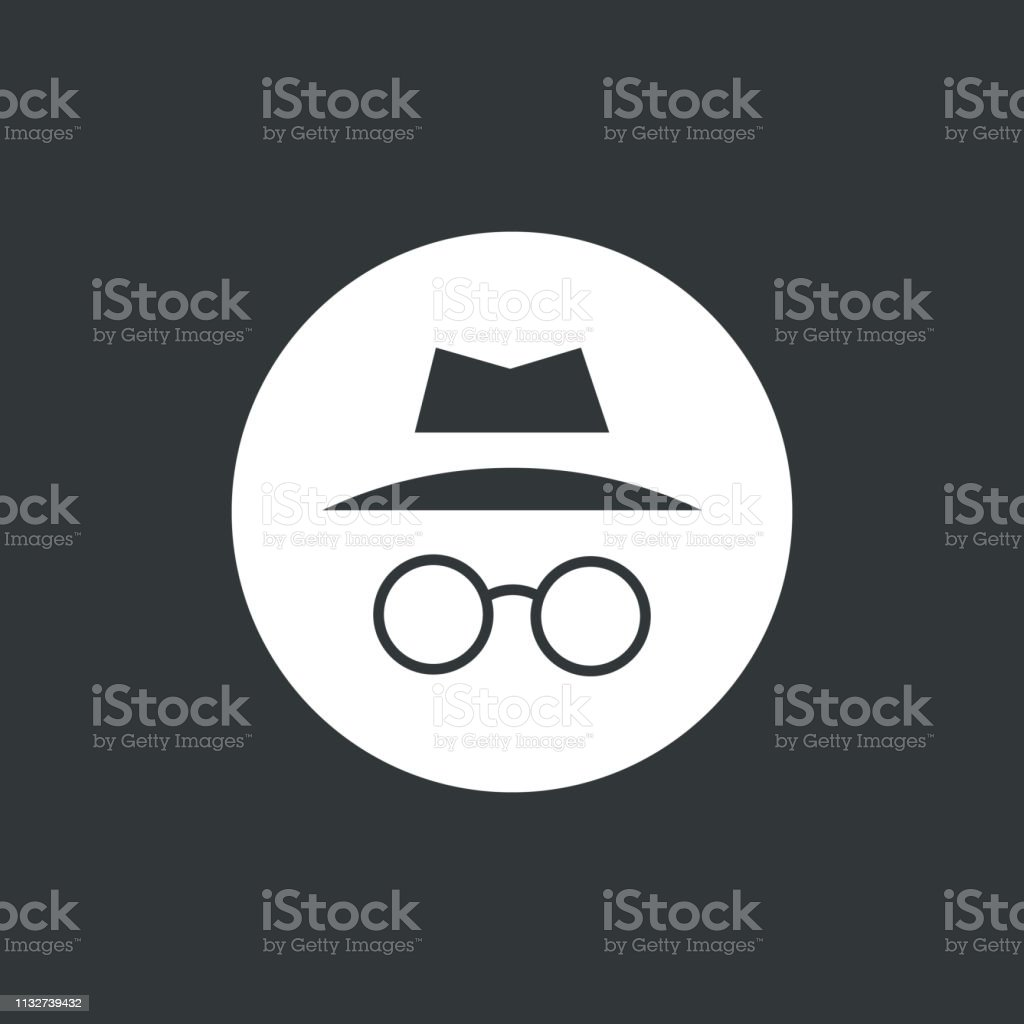 Incognito icon vector illustration. Browse in private. Isolated in white circle.