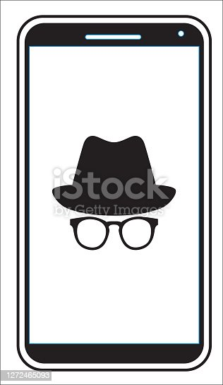 Vector illustration of a Smart Phone with a white hat and eyeglasses face on the screen.