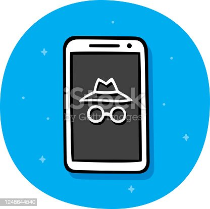 Vector illustration of hand drawn hat and glasses on a smartphone against a blue background.
