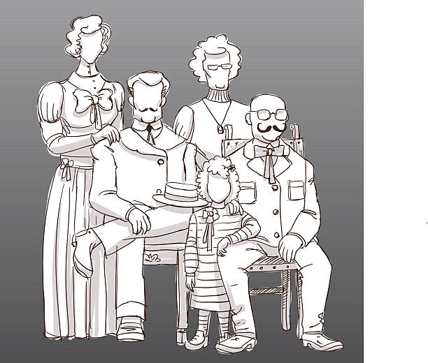 incognito vintage family photo - old man photo pictures stock illustrations, clip art, cartoons, & icons