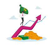 Business Man in Formal Clothing with Money Sack Climbing on Huge Growing Arrow with Coins and Banknotes Below. Income Growth, Banker Character Profit Savings or Investment. Cartoon Vector Illustration