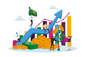 istock Income Growth Concept. Businesspeople Characters Teamwork Cooperation. Team of Businesspeople Climbing Growing Chart 1284636492