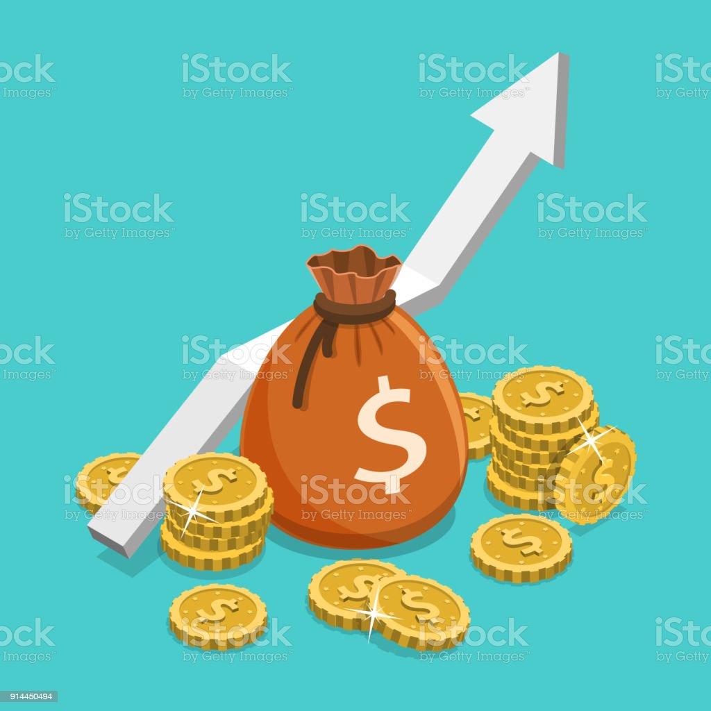 Einkommen-Wachstum flach isometrische Vektor-Konzept. – Vektorgrafik