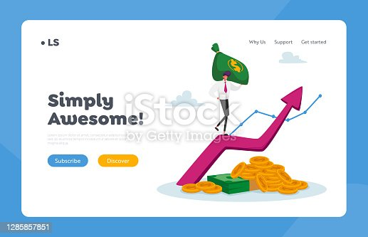 Income Growth Landing Page Template. Business Man in Formal Clothing with Money Sack Climbing on Huge Growing Arrow with Coins and Banknotes Below. Character Profit Saving. Cartoon Vector Illustration