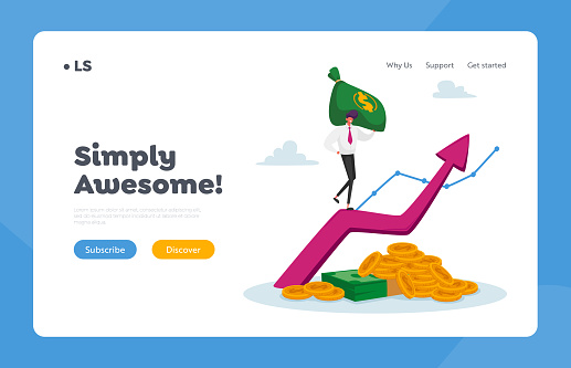 Income Growth Landing Page Template. Business Man in Formal Clothing with Money Sack Climbing on Huge Growing Arrow