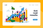 istock Income Growth Landing Page Template. Businesspeople Characters Cooperation. Team of Businesspeople Climbing Grow Arrow 1285857848