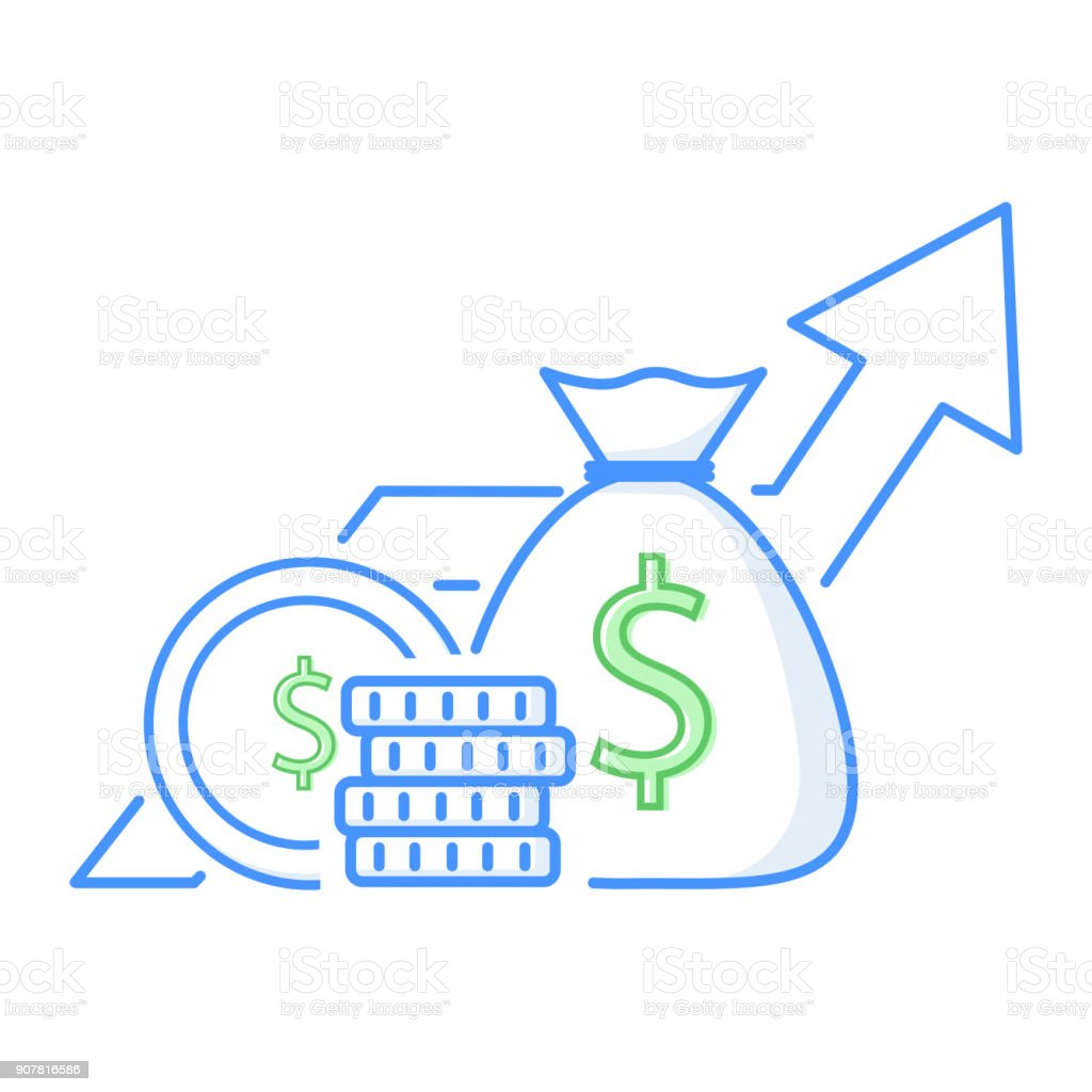 Income increase, financial performance analytics or long term investment and fund management. Revenue growth vector art illustration