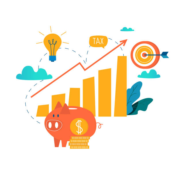 Income increase, financial strategy, high investment return, budget balance, fund raising vector art illustration