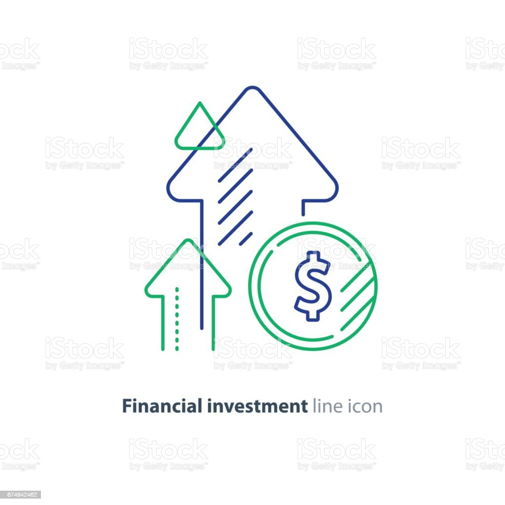 Income increase, lucrative investment, financial growth, fund rising, line icon vector art illustration