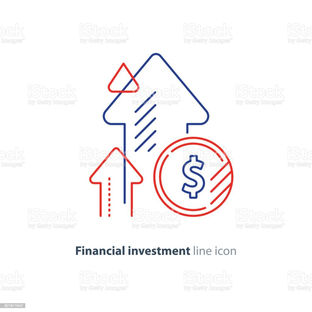Income increase, lucrative investment, financial growth, fund rising, line icon Financial growth, investment strategy plan, fund rising campaign, arrows and coin, vector mono line icon Accountancy stock vector
