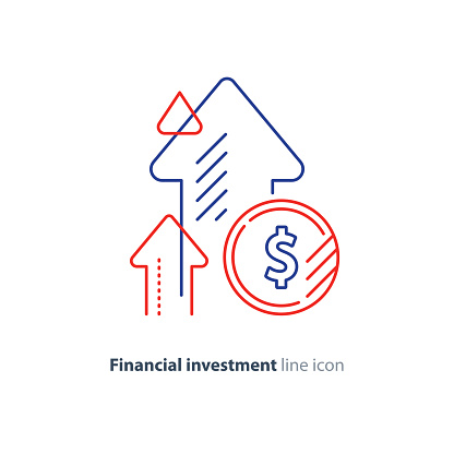 Income Increase Lucrative Investment Financial Growth Fund Rising Line Icon Stock Illustration - Download Image Now